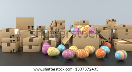 Shipping cartons with colored easter eggs on the table. 3d illustration.