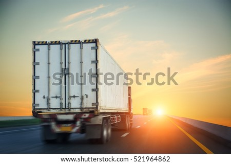 Shipping container by Container truck