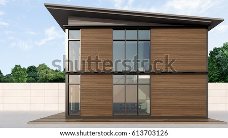 Shipping Container Homes with wooden wall , 3d rendering