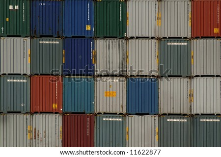 Shipping container stacked high in a port in Florida, USA