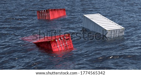 shipping containers lost at sea - 3D Rendering Photo stock ©