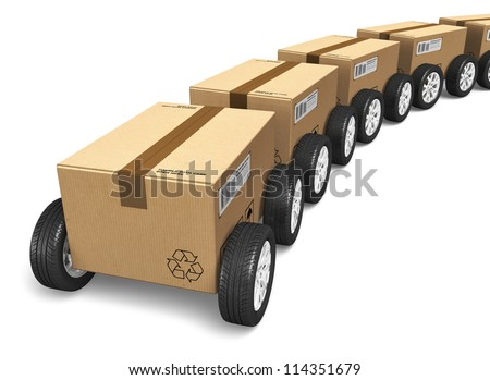 Shipping, logistics and delivery concept: railway freight cargo train from heap of cardboard boxes with car wheels isolated on white background
