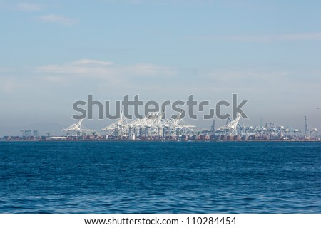 Shipping port viewed from offshore