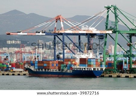 Shipping port with cranes and container ship