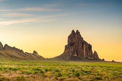 Shiprock, New Mexico, USA at the Shiprock rock formation.
