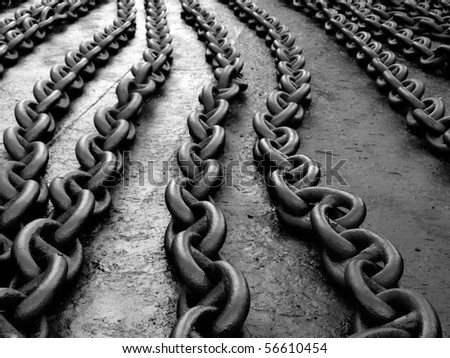 Ships anchor chain on the floor after painting...