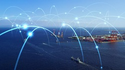 Ships and communication network concept. maritime traffic.