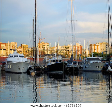 ships and yachts in Port Vell, barcelona