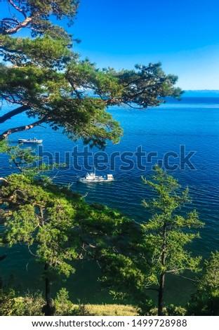 Ships and yachts sail on Lake Baikal against the background of a Baikal pine #1499728988