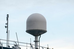 Ships antenna and navigation system on white background