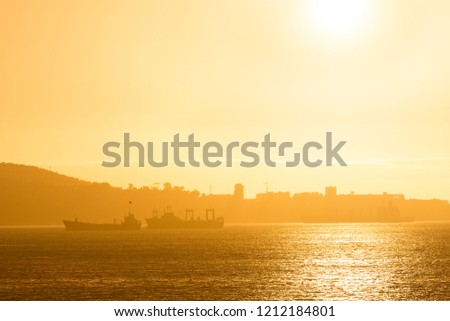 Ships at the port of Valparaiso, Valparaiso, Chile, South America