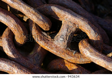 Ships chain rusting near the water-front in Liverpool.