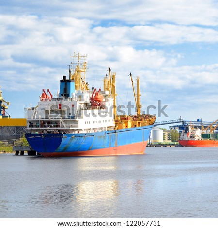 ships in a cargo port. Ventspils, Latvia