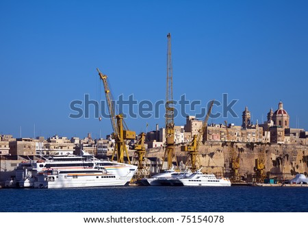 Ships in dry dock at Grand harbour (Valletta, Malta)