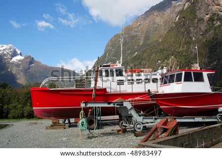 Ships in Milford Sound, New Zealand
