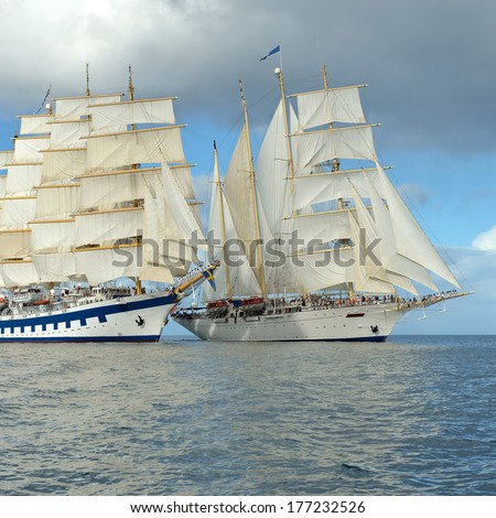 Ships in the ocean. Series of ships and yachts