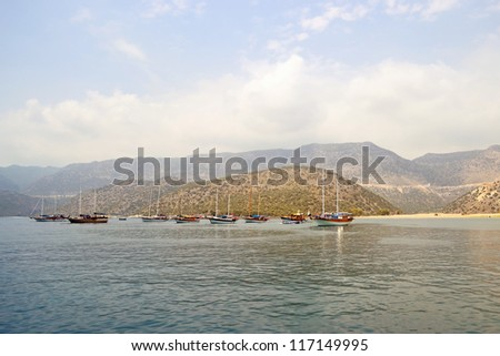 ships near Mediterranean coastline in neighborhood to Myra in Antalya region in Turkey