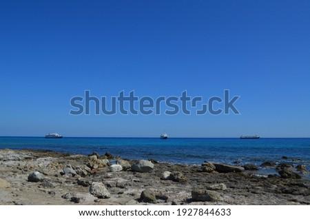 Ships near the coast of Chrissi island