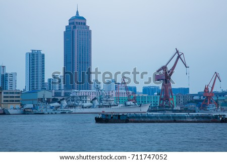 Ships on Huangpu River and cranes at the harbour,shanghai,china. #711747052