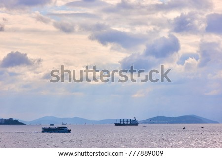 ships passing through Istanbul sea. #777889009