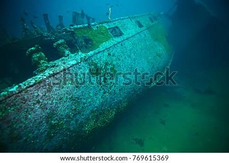 shipwreck, diving on a sunken ship, underwater landscape #769615369