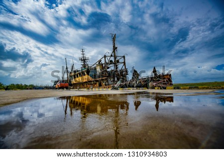 Shipwreck in harbour