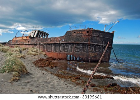 Shipwreck in Patagonia, Chile.