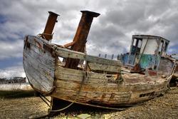 Shipwreck on a beach.