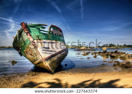 Shipwreck on a Beach in Brittany #227663374