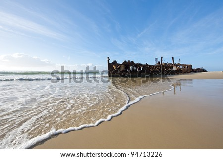 Shipwreck on the beach at Fraser Island in Australia