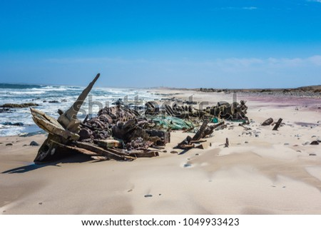 Shipwreck on the Skeleton Coast ,Namibia #1049933423