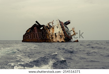 Shipwreck, rusty ship wreck #254516371