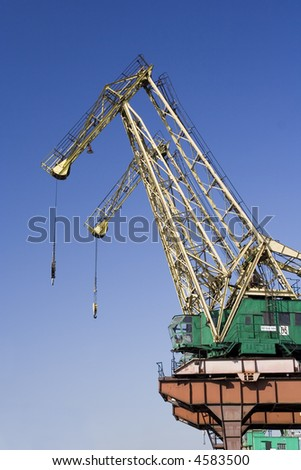Shipyard cranes in Szczecin dockyard, Poland - stock photo