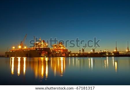 Shipyard in riga at sunset time
