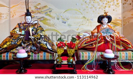 stock photo : SHIRAKAWAGO, JAPAN - MARCH 27: Hinamatsuri in Shirakawago, Japan on March 27, 2012. A set of ornamental dolls are consisted of Emperor, Empress, attendants, and musicians in traditional court dress.