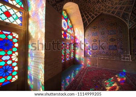 Shiraz, Iran - may 9, 2018: Nasir Al-Mulk Mosque in Shiraz, Iran, also known as Pink Mosque