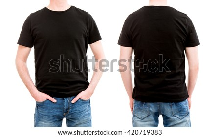 shirt black template mockup tshirt men blank - stock image
