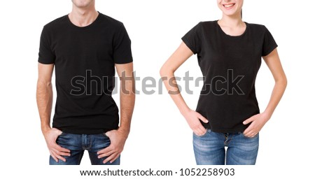 08680e6c Shirt design and people concept - close up of young man and woman in blank  black