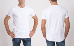 Shirt design and people concept - close up of young man in blank white tshirt front and rear isolated. Mock up template for design print