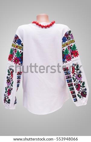 shirt female national folklore, a national folk costume Ukraine, isolated on gray