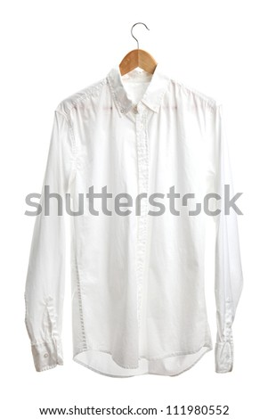 shirt on wooden hanger isolated on white