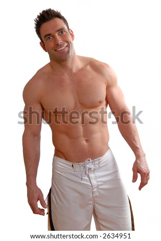 shirtless man with big muscles on white background