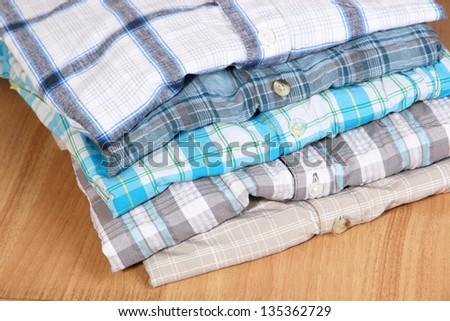 Shirts neatly folded close-up