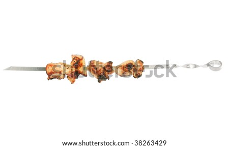 Shish kebabs on a white background