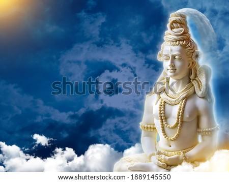 Shiv 3d Wallpaper with clouds and Sun Rays, God Mahadev mural 3D illustration Blue clouds and rays God Mahadev Doing Meditation  om namah shivaya | shivratri | Shivaratri