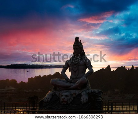 Shiva God Statue in Rishikesh, India #1066308293