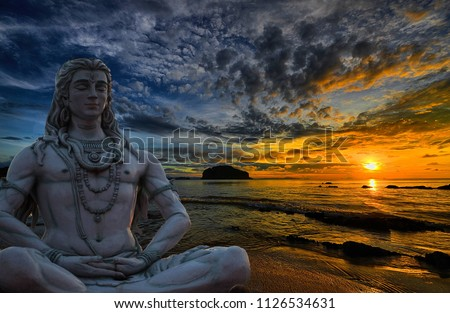 Shiva God statue in Rishikesh, India at sunset  #1126534631