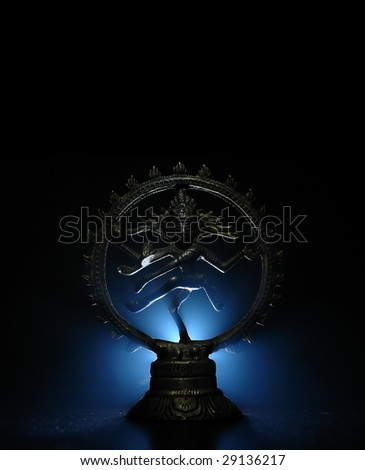 Shiva statue with blue light