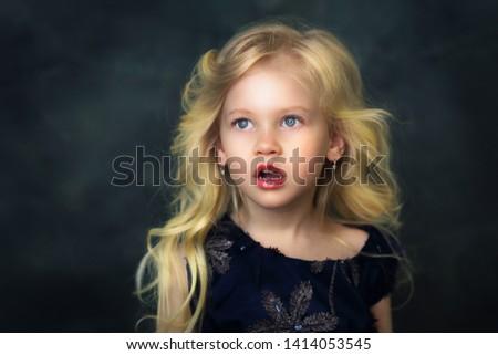 shocked beautiful little girl open mouth #1414053545