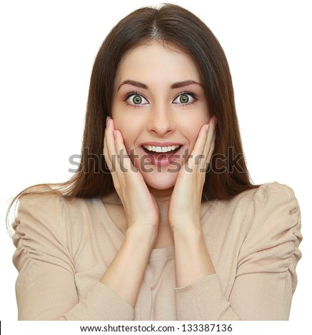 Shocked beautiful woman with opened mouth looking. Isolated closeup portrait on white background